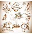 Hand-drawn New Year and Christmas set vector image