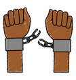 hand human with handcuff vector image vector image