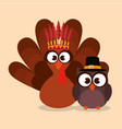 happy thanks giving card with turkey vector image vector image