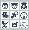 isolated kids icons set boy girl teddy bear vector image