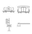 isolated object of train and station symbol set vector image vector image