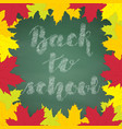 lettering chalk back to school on green chalkboard vector image