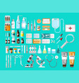 medical icons in set on blue vector image vector image