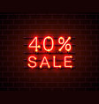 neon 40 sale text banner night sign vector image vector image