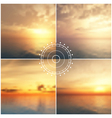 Ocean sunset blurred backgrounds vector image