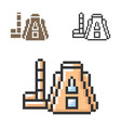 pixel icon termal power plant in three vector image