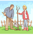 planting tree vector image vector image