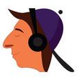 profile cartoon a smiling boy with purple cap vector image