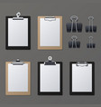 Realistic clipboards with blank white paper sheet