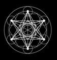 sacred geometry symbol metatrons cube on black vector image vector image