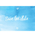 Save the date typographic blue vector image vector image