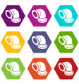 semicircular pipe icons set 9 vector image vector image