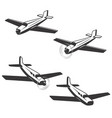 set airplane icons isolated on white vector image vector image