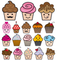 set cute cupcakes vector image vector image