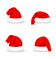 set santa claus hats realistic red santa claus vector image