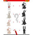 shadow game with cute rabbit characters vector image vector image