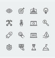 start-up icon set in thin line style vector image