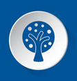 stylized tree - simple blue icon on white button vector image