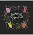 summer smoothie handwritten inscription surrounded vector image vector image