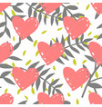 tile tropical pattern with exotic leaves and pink vector image