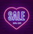 valentines day sale neon glow retro template vector image