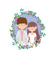 Wedding couple groom and bride cartoon flowers
