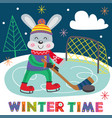 winter poster hare plays hockey vector image vector image