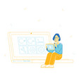woman programmer working on computer at web site vector image vector image
