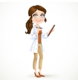 Woman doctor in a white medical coat holding a pen vector image