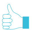 blue color silhouette of right hand thumb up vector image