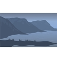 View cliff of silhouette vector image