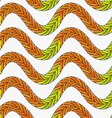 Artistic color brushed green orange braids vector image vector image