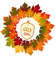 autumn label and leaf border vector image vector image