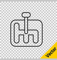 black line gear shifter icon isolated on vector image vector image