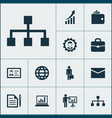 business icons set collection of increasing vector image vector image