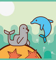 cetacean dolphin monk seal starfish sea life vector image