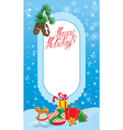 Christmas and New Year card with frame fir tree br vector image vector image