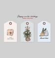 christmas greeting tag set gift present bauble vector image