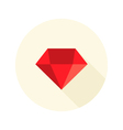 Christmas Red Diamond Flat Icon over White vector image