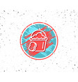 cleaning bucket with sponge line icon vector image vector image