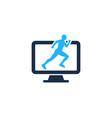 computer run logo icon design vector image vector image