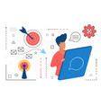 contact us man character with tablet and solving vector image