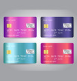 credit cards set with colorful shiny vector image vector image