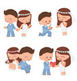 cute cartoon wedding couple in blue suit and vector image