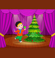 cute girl in winter clothes performing on stage vector image vector image