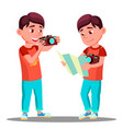 cute little boy take a photo with camera in his vector image vector image