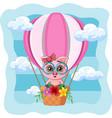 cute little pig flying in a hot air balloon
