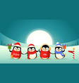 cute penguin friends celebrate winter holidays vector image