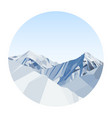 day mountains low poly in a circle vector image