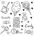 doodle candy hand draw various vector image vector image